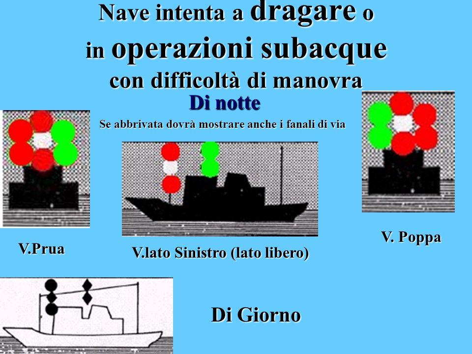 Nave intenta a dragare dragare o in operazioni subacque con difficoltà di manovra Di notte Se abbrivata dovrà mostrare anche i fanali di via V.Prua V.