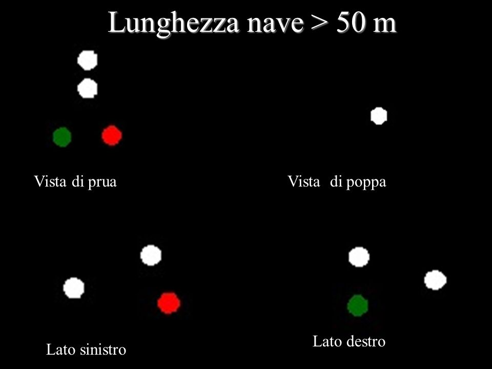 Vista di pruavista i poppavVista di poppa Lato sinistro Lato destro Lunghezza nave > 50 m