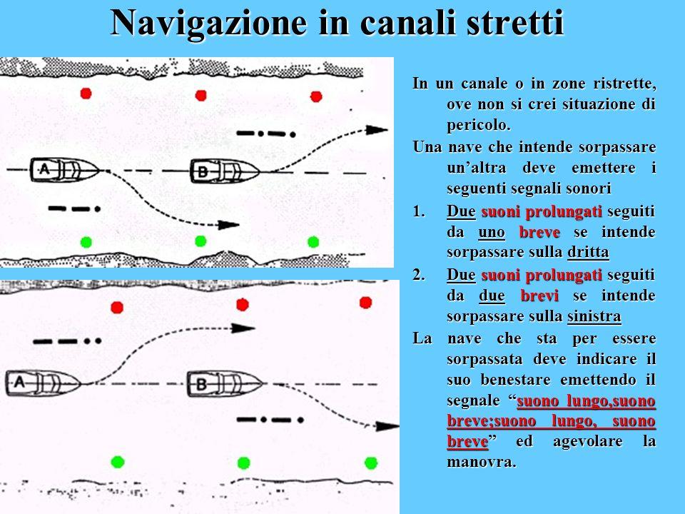 Navigazione in canali stretti In un canale o in zone ristrette, ove non si crei situazione di pericolo. Una nave che intende sorpassare unaltra deve e