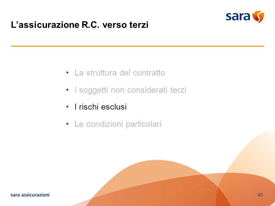 40 La struttura del contratto I soggetti non considerati terzi I rischi esclusi Le condizioni particolari Lassicurazione R.C. verso terzi