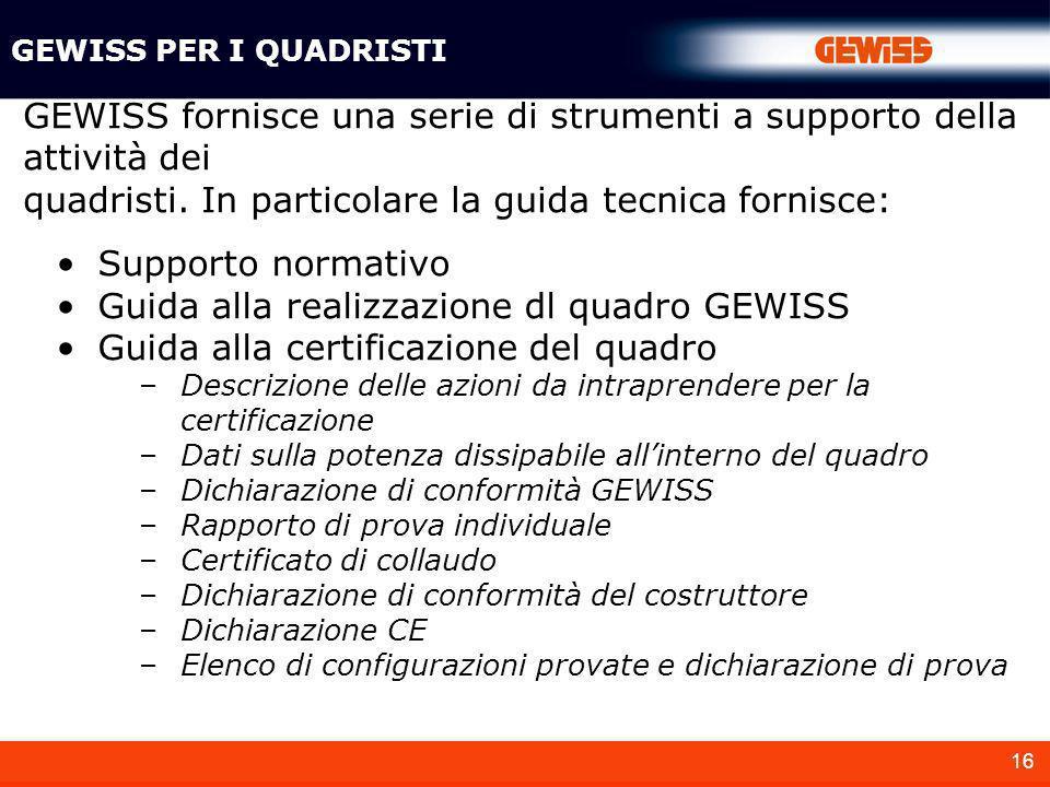 16 GEWISS PER I QUADRISTI Supporto normativo Guida alla realizzazione dl quadro GEWISS Guida alla certificazione del quadro –Descrizione delle azioni