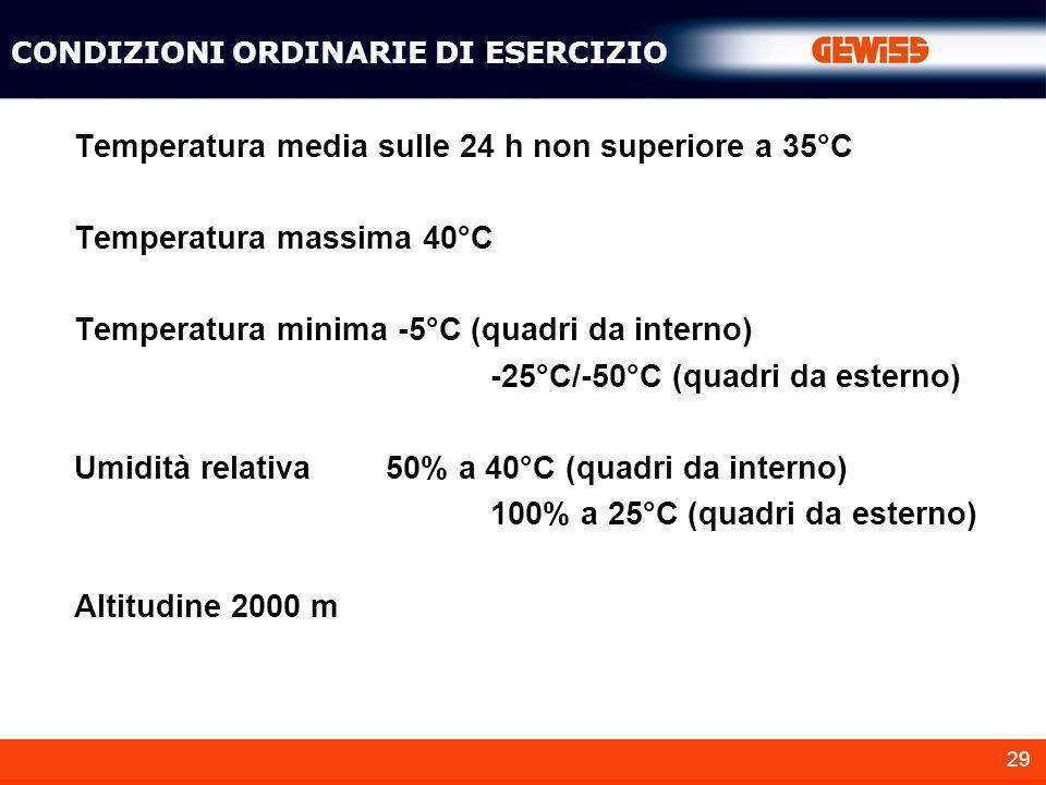 29 Temperatura media sulle 24 h non superiore a 35°C Temperatura massima 40°C Temperatura minima -5°C (quadri da interno) -25°C/-50°C (quadri da ester