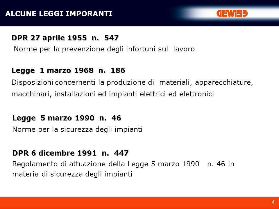 4 ALCUNE LEGGI IMPORANTI DPR 27 aprile 1955 n. 547 Norme per la prevenzione degli infortuni sul lavoro Legge 5 marzo 1990 n. 46 Norme per la sicurezza