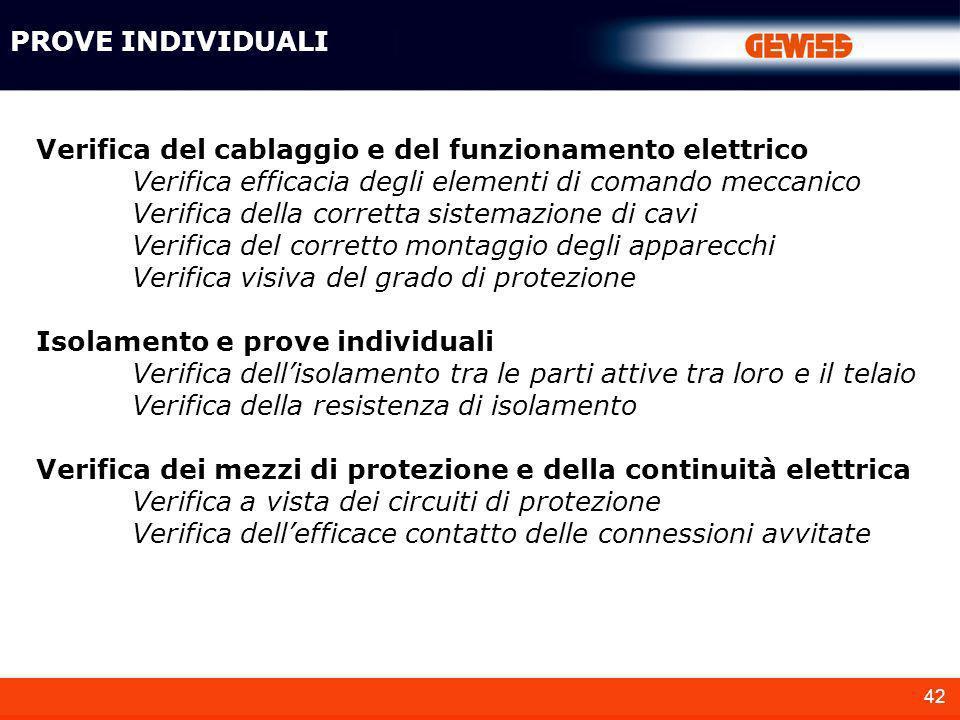 42 PROVE INDIVIDUALI Verifica del cablaggio e del funzionamento elettrico Verifica efficacia degli elementi di comando meccanico Verifica della corret