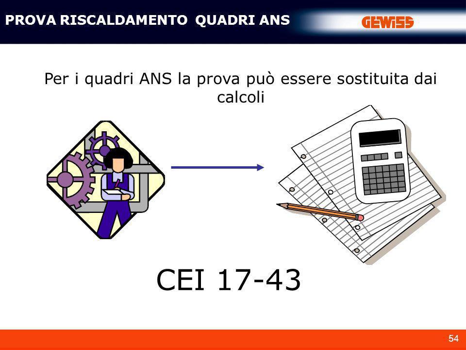54 Per i quadri ANS la prova può essere sostituita dai calcoli PROVA RISCALDAMENTO QUADRI ANS CEI 17-43