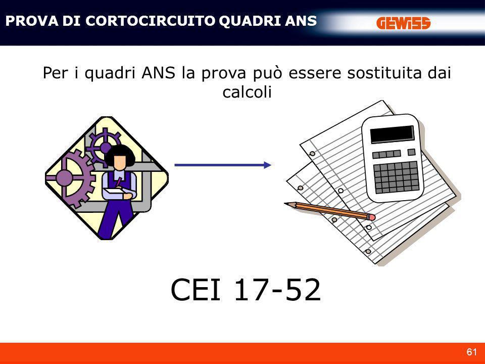 61 Per i quadri ANS la prova può essere sostituita dai calcoli PROVA DI CORTOCIRCUITO QUADRI ANS CEI 17-52