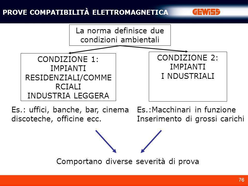 76 PROVE COMPATIBILITÀ ELETTROMAGNETICA La norma definisce due condizioni ambientali CONDIZIONE 1: IMPIANTI RESIDENZIALI/COMME RCIALI INDUSTRIA LEGGER