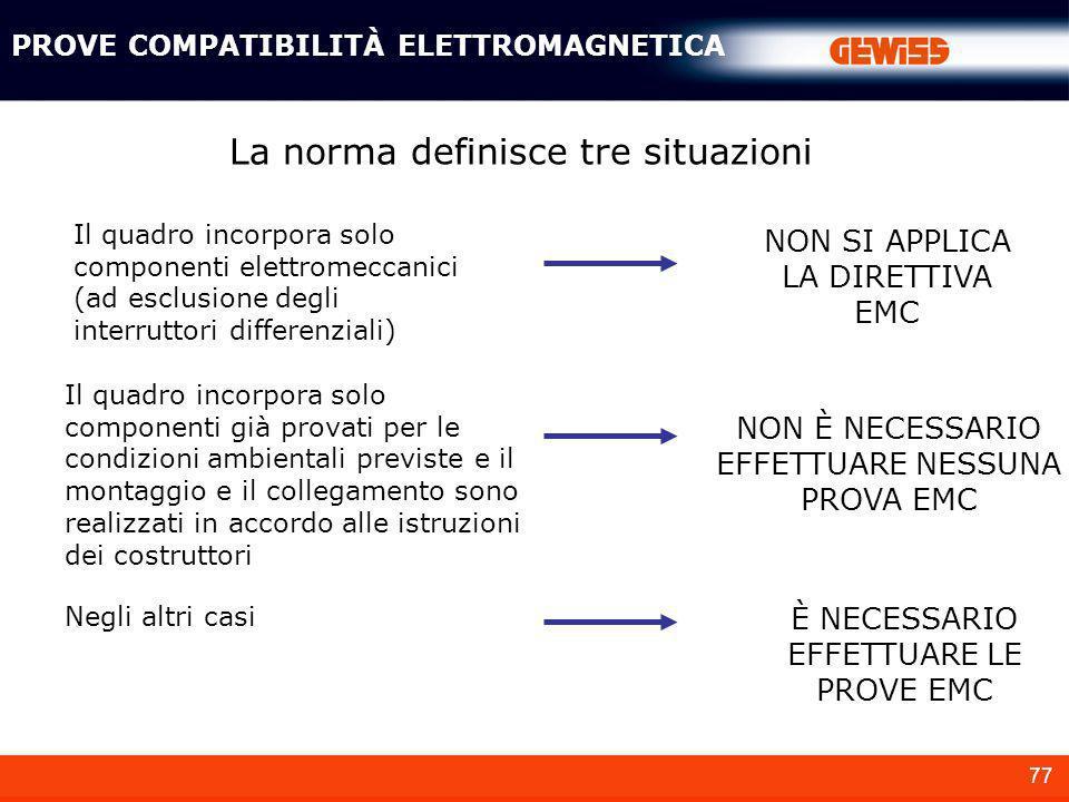 77 La norma definisce tre situazioni Il quadro incorpora solo componenti elettromeccanici (ad esclusione degli interruttori differenziali) Il quadro i