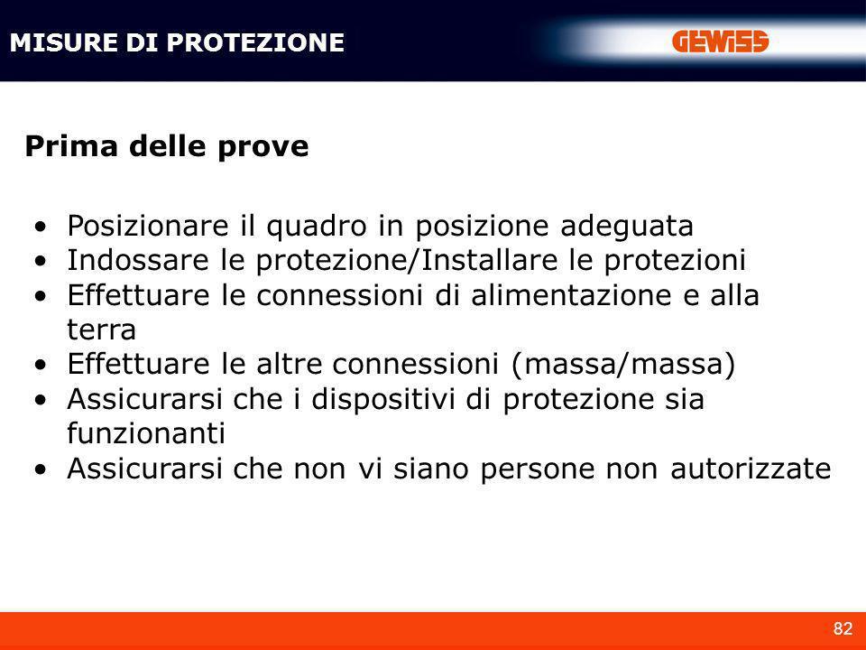 82 MISURE DI PROTEZIONE Prima delle prove Posizionare il quadro in posizione adeguata Indossare le protezione/Installare le protezioni Effettuare le c