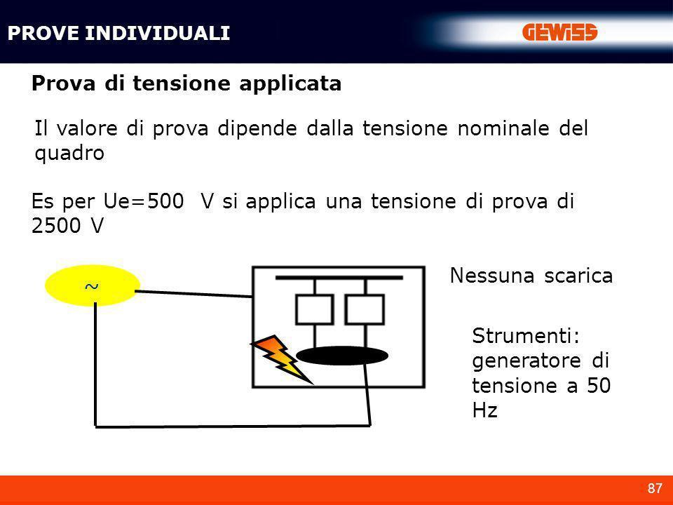 87 Prova di tensione applicata Il valore di prova dipende dalla tensione nominale del quadro Es per Ue=500 V si applica una tensione di prova di 2500