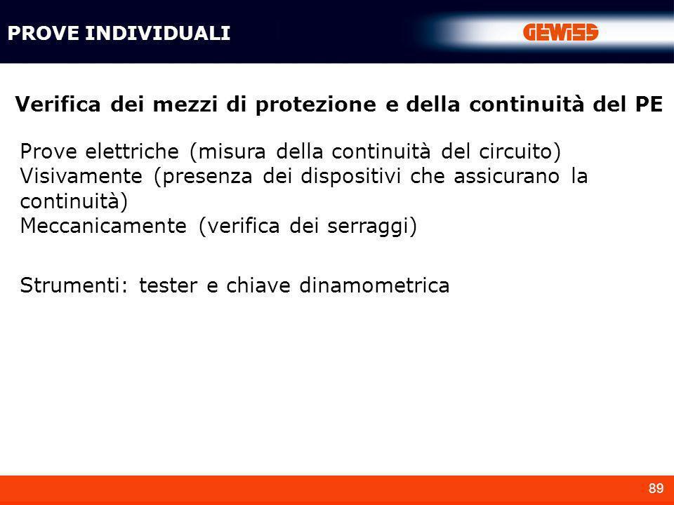 89 Verifica dei mezzi di protezione e della continuità del PE Prove elettriche (misura della continuità del circuito) Visivamente (presenza dei dispos