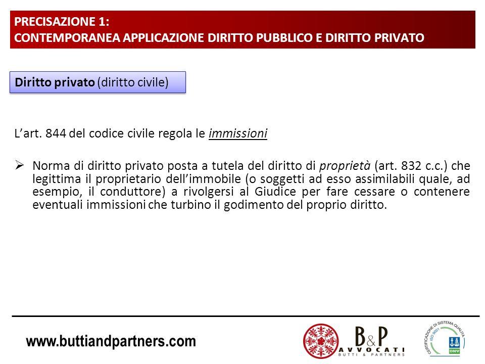 www.buttiandpartners.com PRECISAZIONE 1: CONTEMPORANEA APPLICAZIONE DIRITTO PUBBLICO E DIRITTO PRIVATO Lart. 844 del codice civile regola le immission