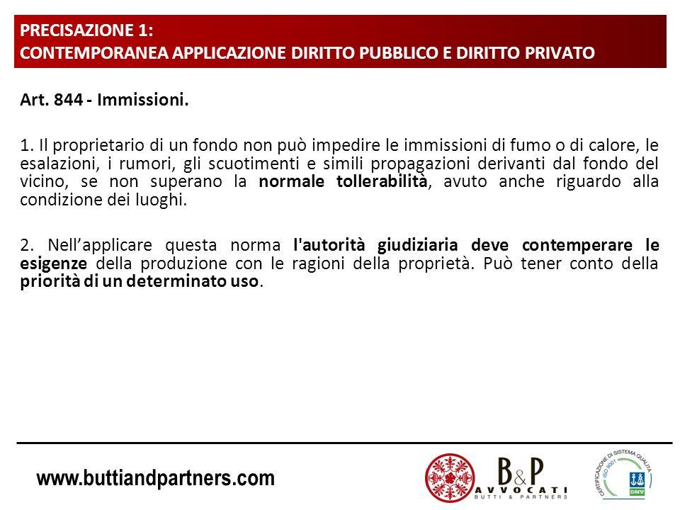 www.buttiandpartners.com PRECISAZIONE 1: CONTEMPORANEA APPLICAZIONE DIRITTO PUBBLICO E DIRITTO PRIVATO Art. 844 - Immissioni. 1. Il proprietario di un
