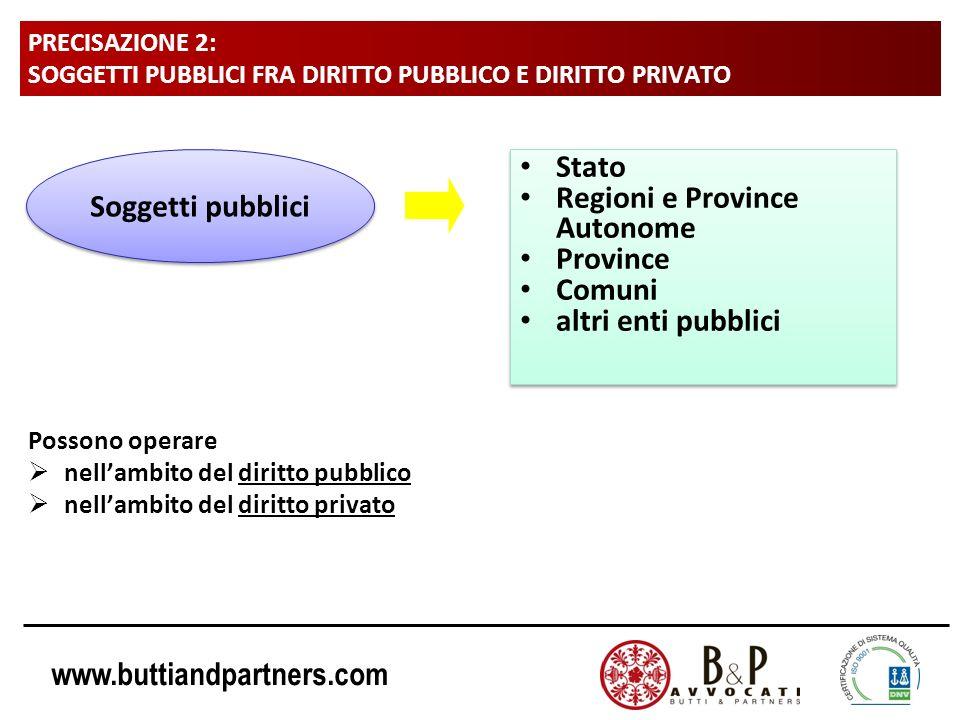 www.buttiandpartners.com PRECISAZIONE 2: SOGGETTI PUBBLICI FRA DIRITTO PUBBLICO E DIRITTO PRIVATO Possono operare nellambito del diritto pubblico nell