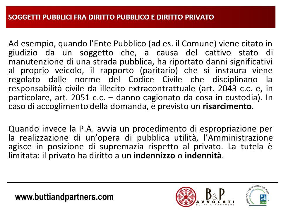 www.buttiandpartners.com SOGGETTI PUBBLICI FRA DIRITTO PUBBLICO E DIRITTO PRIVATO Ad esempio, quando lEnte Pubblico (ad es. il Comune) viene citato in