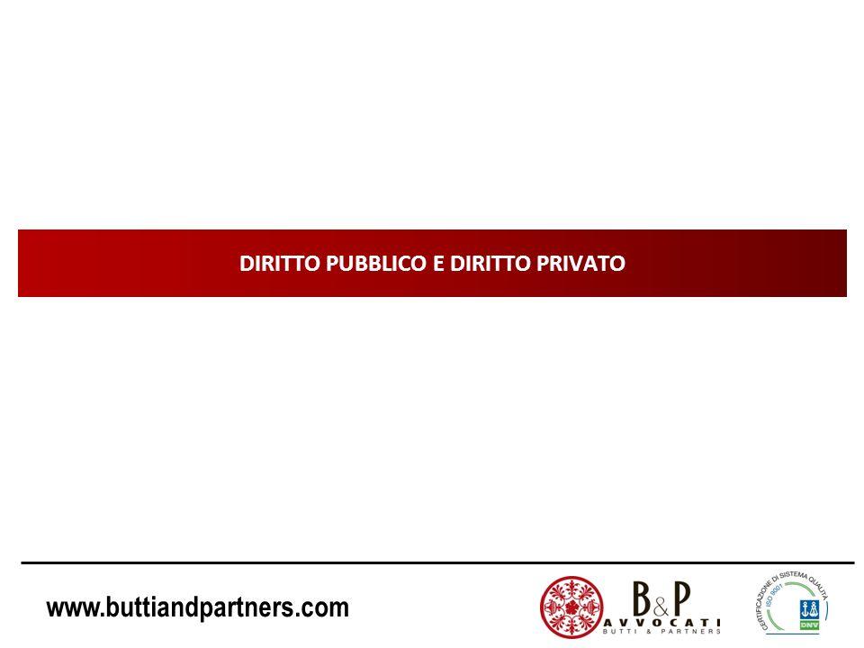 www.buttiandpartners.com DIRITTO PUBBLICO E DIRITTO PRIVATO Le norme dellordinamento giuridico italiano possono essere distinte in due grandi categorie: DIRITTO PUBBLICO (diritto costituzionale, amministrativo, penale, tributario) DIRITTO PRIVATO (diritto civile, diritto commerciale, ….)