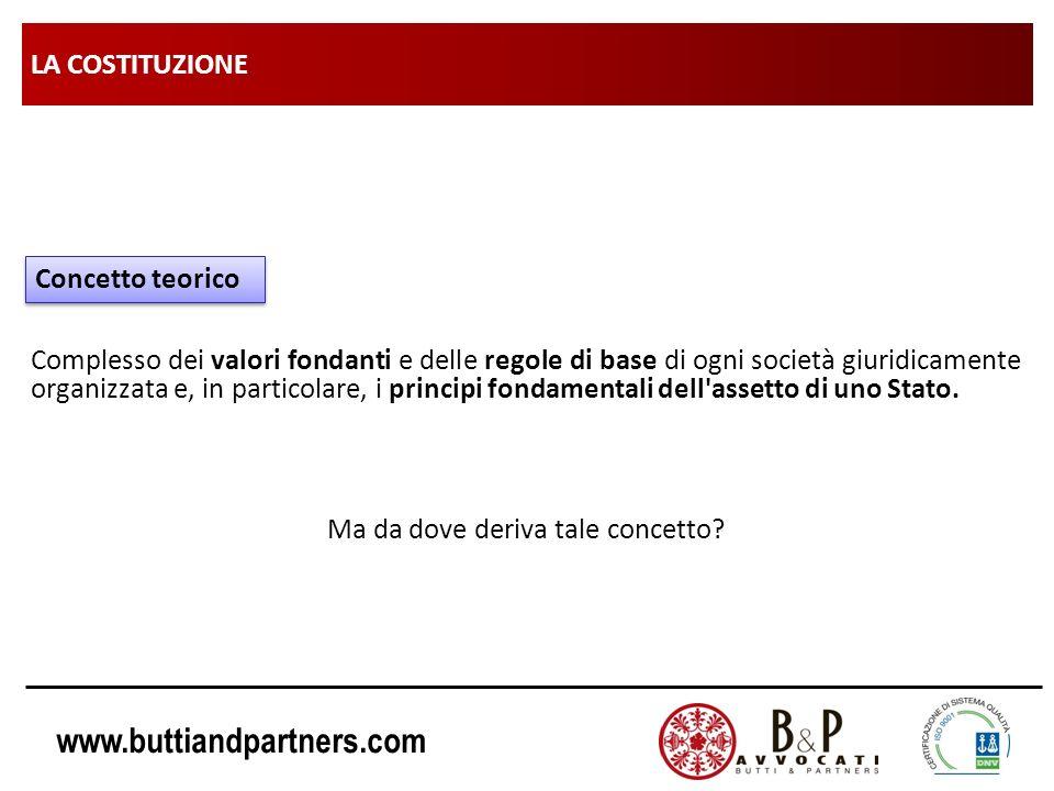 www.buttiandpartners.com LA COSTITUZIONE Complesso dei valori fondanti e delle regole di base di ogni società giuridicamente organizzata e, in partico