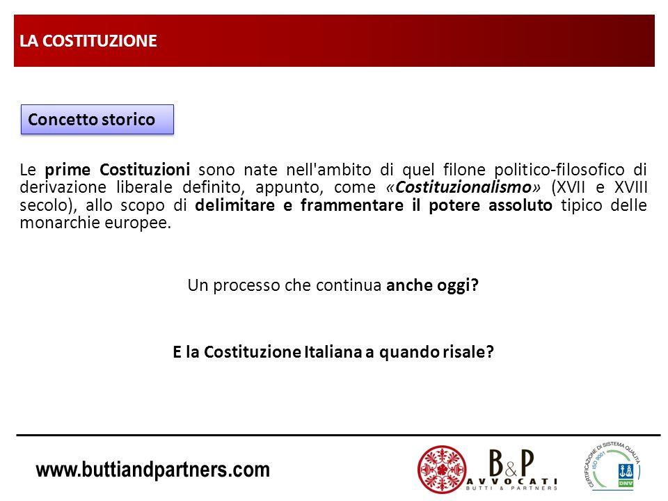 www.buttiandpartners.com LA COSTITUZIONE Le prime Costituzioni sono nate nell'ambito di quel filone politico-filosofico di derivazione liberale defini