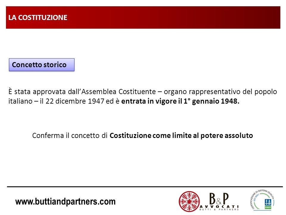 www.buttiandpartners.com LA COSTITUZIONE È stata approvata dallAssemblea Costituente – organo rappresentativo del popolo italiano – il 22 dicembre 194