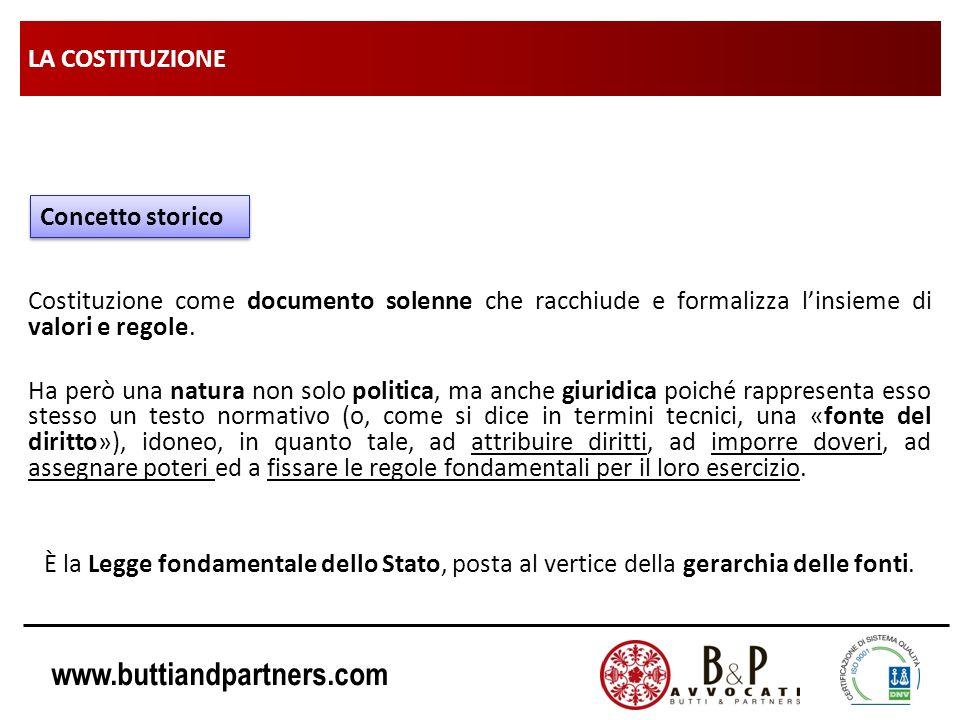 www.buttiandpartners.com LA COSTITUZIONE Costituzione come documento solenne che racchiude e formalizza linsieme di valori e regole. Ha però una natur