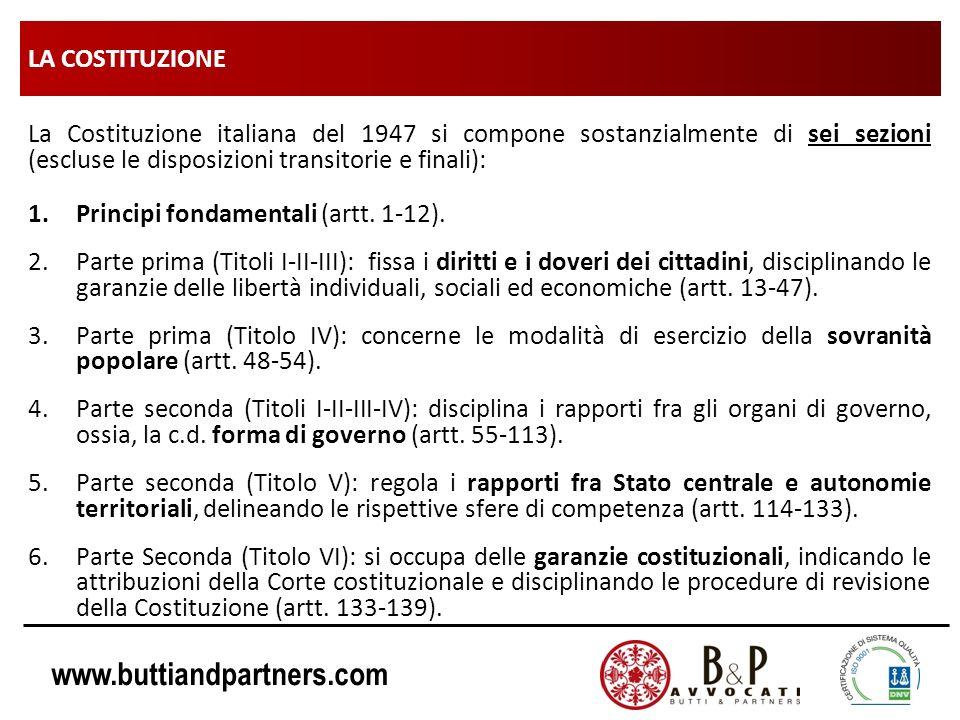 www.buttiandpartners.com LA COSTITUZIONE La Costituzione italiana del 1947 si compone sostanzialmente di sei sezioni (escluse le disposizioni transito