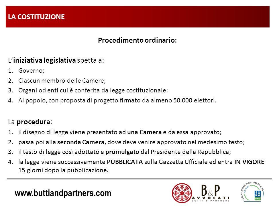 www.buttiandpartners.com LA COSTITUZIONE Procedimento ordinario: Liniziativa legislativa spetta a: 1.Governo; 2.Ciascun membro delle Camere; 3.Organi