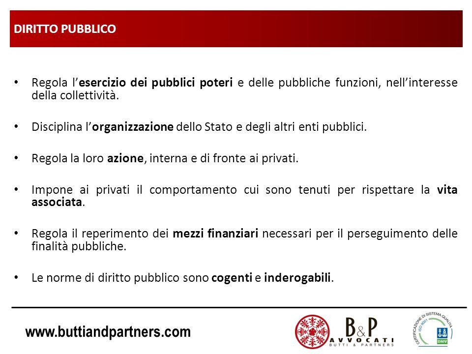 www.buttiandpartners.com DIRITTO PUBBLICO Regola lesercizio dei pubblici poteri e delle pubbliche funzioni, nellinteresse della collettività. Discipli