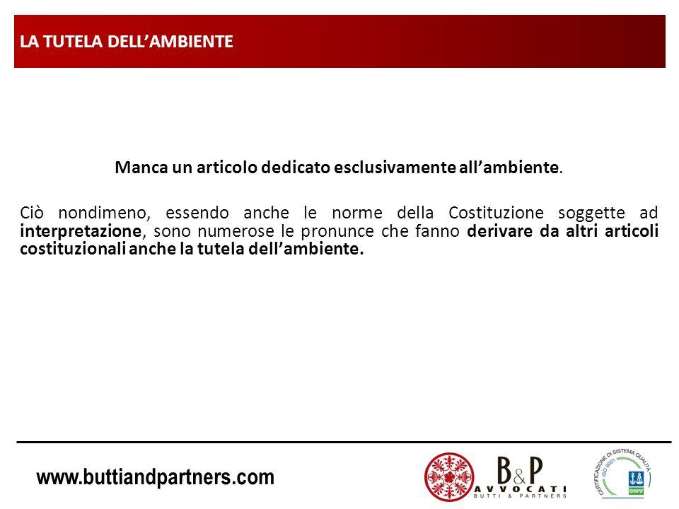 www.buttiandpartners.com LA TUTELA DELLAMBIENTE Manca un articolo dedicato esclusivamente allambiente. Ciò nondimeno, essendo anche le norme della Cos