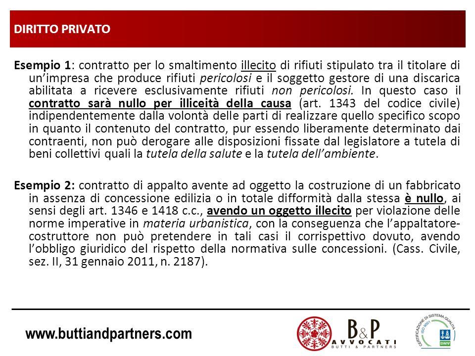 www.buttiandpartners.com DIRITTO PRIVATO Esempio 1: contratto per lo smaltimento illecito di rifiuti stipulato tra il titolare di unimpresa che produc