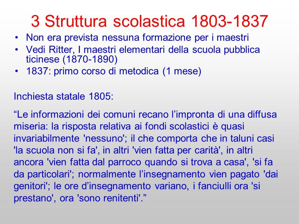 Non era prevista nessuna formazione per i maestri Vedi Ritter, I maestri elementari della scuola pubblica ticinese (1870-1890) 1837: primo corso di me