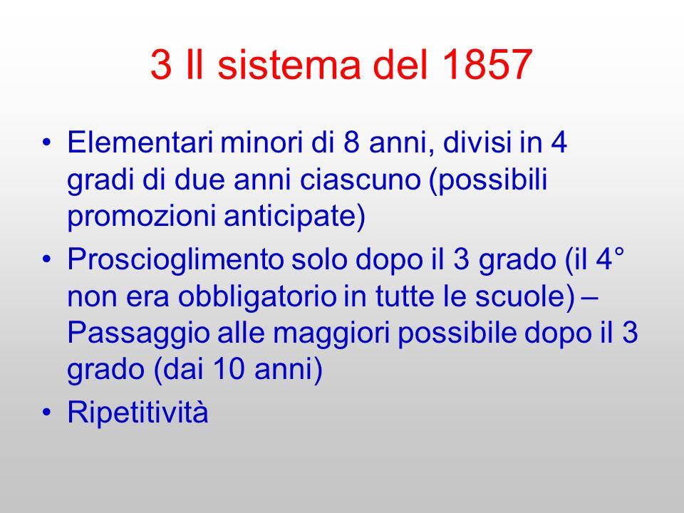 3 Il sistema del 1857 Elementari minori di 8 anni, divisi in 4 gradi di due anni ciascuno (possibili promozioni anticipate) Proscioglimento solo dopo
