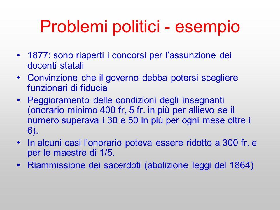 Problemi politici - esempio 1877: sono riaperti i concorsi per lassunzione dei docenti statali Convinzione che il governo debba potersi scegliere funz
