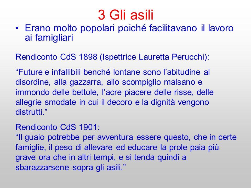 3 Gli asili Erano molto popolari poiché facilitavano il lavoro ai famigliari Rendiconto CdS 1898 (Ispettrice Lauretta Perucchi): Future e infallibili