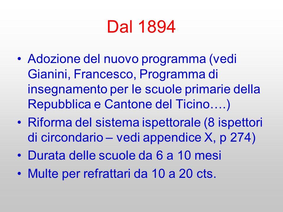 Dal 1894 Adozione del nuovo programma (vedi Gianini, Francesco, Programma di insegnamento per le scuole primarie della Repubblica e Cantone del Ticino