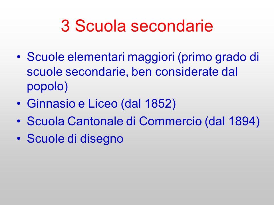 3 Scuola secondarie Scuole elementari maggiori (primo grado di scuole secondarie, ben considerate dal popolo) Ginnasio e Liceo (dal 1852) Scuola Canto