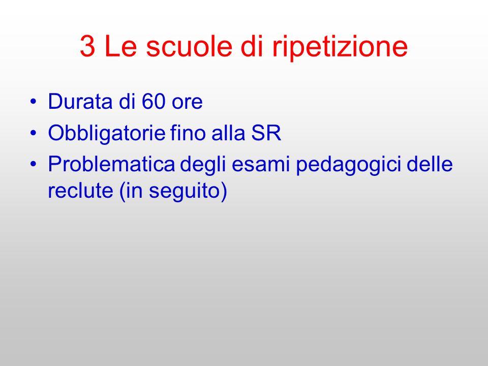3 Le scuole di ripetizione Durata di 60 ore Obbligatorie fino alla SR Problematica degli esami pedagogici delle reclute (in seguito)