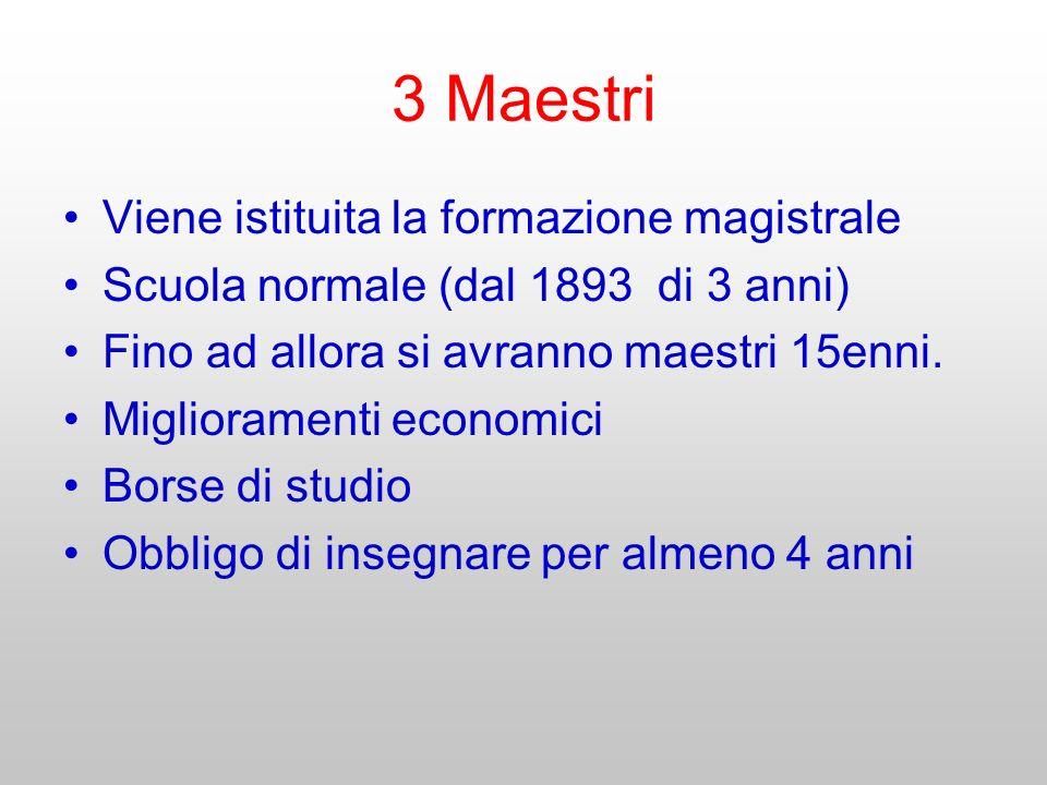 3 Maestri Viene istituita la formazione magistrale Scuola normale (dal 1893 di 3 anni) Fino ad allora si avranno maestri 15enni. Miglioramenti economi