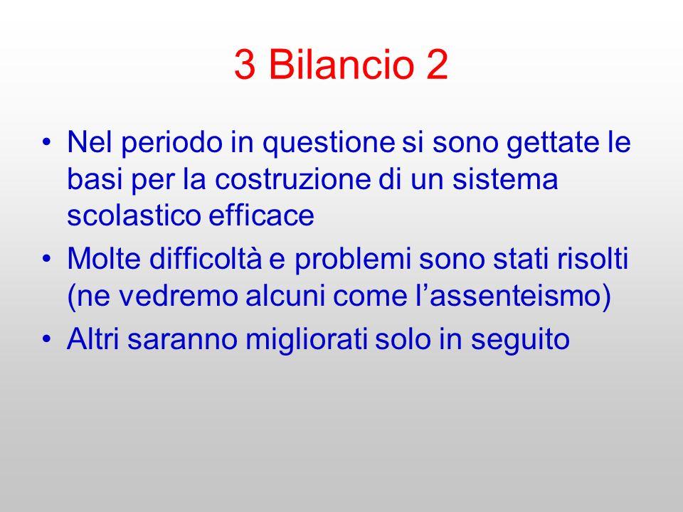 3 Bilancio 2 Nel periodo in questione si sono gettate le basi per la costruzione di un sistema scolastico efficace Molte difficoltà e problemi sono st