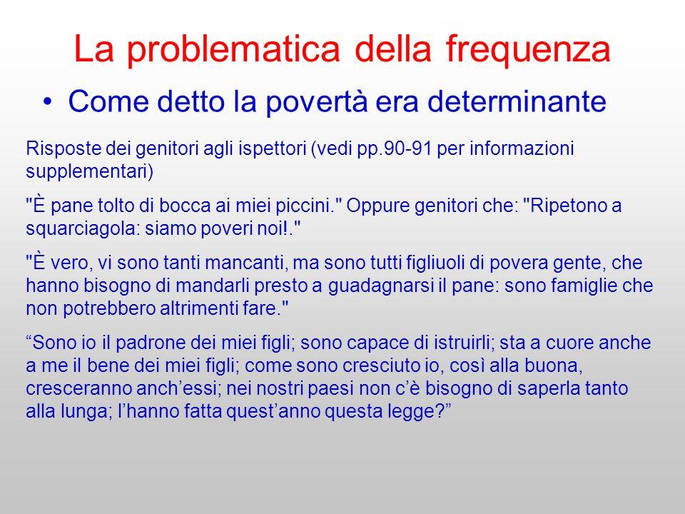 La problematica della frequenza Come detto la povertà era determinante Risposte dei genitori agli ispettori (vedi pp.90-91 per informazioni supplement