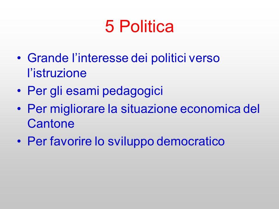 5 Politica Grande linteresse dei politici verso listruzione Per gli esami pedagogici Per migliorare la situazione economica del Cantone Per favorire l