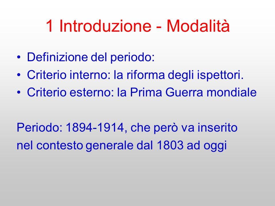 1 Introduzione - Modalità Definizione del periodo: Criterio interno: la riforma degli ispettori. Criterio esterno: la Prima Guerra mondiale Periodo: 1