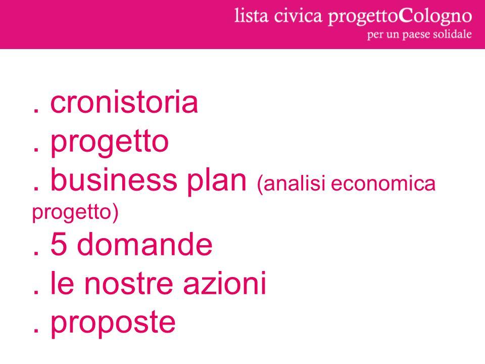 cronistoria. progetto. business plan (analisi economica progetto).