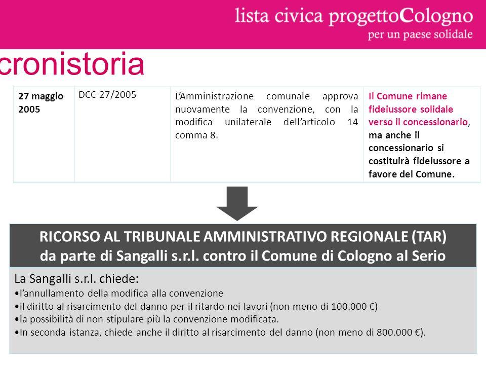 27 maggio 2005 DCC 27/2005 LAmministrazione comunale approva nuovamente la convenzione, con la modifica unilaterale dellarticolo 14 comma 8.