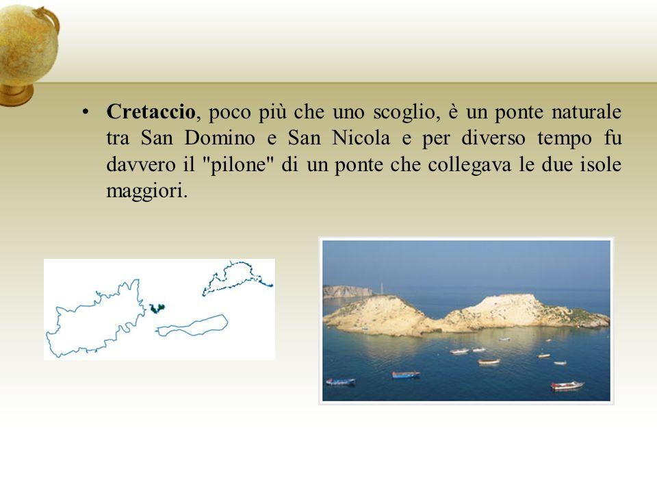 Cretaccio, poco più che uno scoglio, è un ponte naturale tra San Domino e San Nicola e per diverso tempo fu davvero il pilone di un ponte che collegava le due isole maggiori.