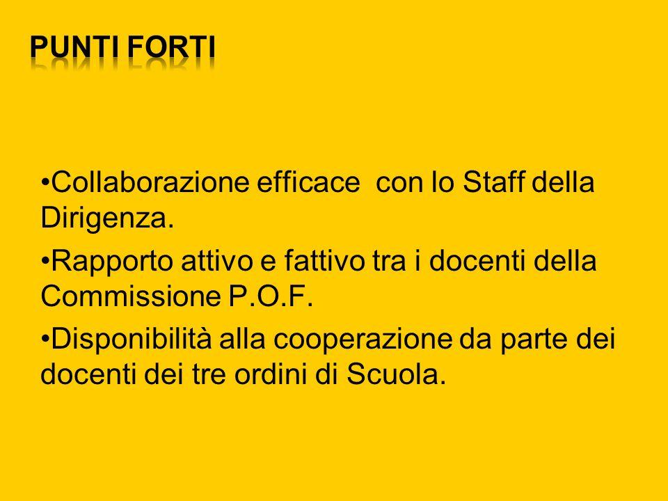 Collaborazione efficace con lo Staff della Dirigenza. Rapporto attivo e fattivo tra i docenti della Commissione P.O.F. Disponibilità alla cooperazione