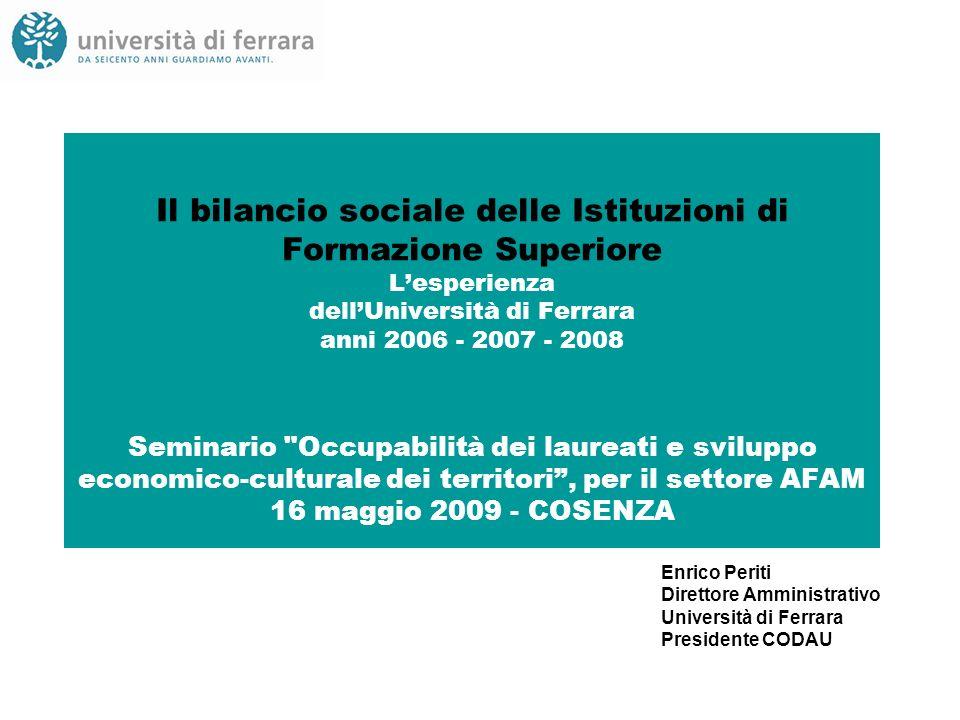 Il bilancio sociale delle Istituzioni di Formazione Superiore Lesperienza dellUniversità di Ferrara anni 2006 - 2007 - 2008 Seminario