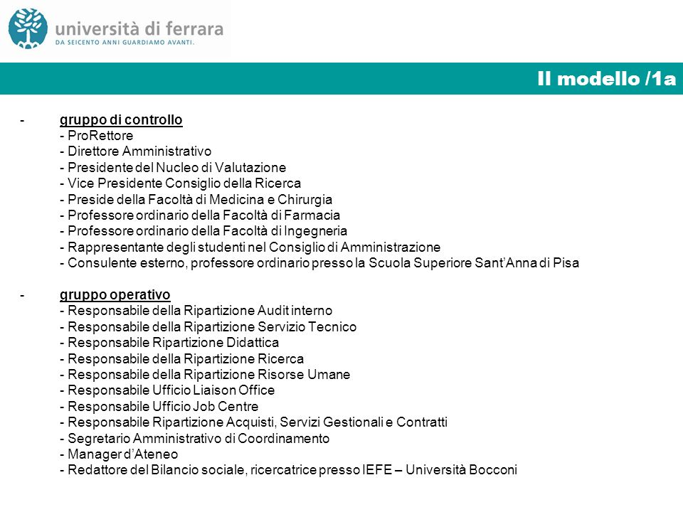 Il modello /1a -gruppo di controllo - ProRettore - Direttore Amministrativo - Presidente del Nucleo di Valutazione - Vice Presidente Consiglio della R