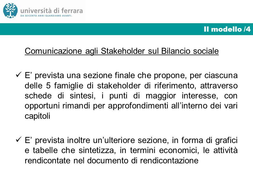 Modello organizzativo del bilancio sociale in Unife/3Il modello /4 Comunicazione agli Stakeholder sul Bilancio sociale E prevista una sezione finale c