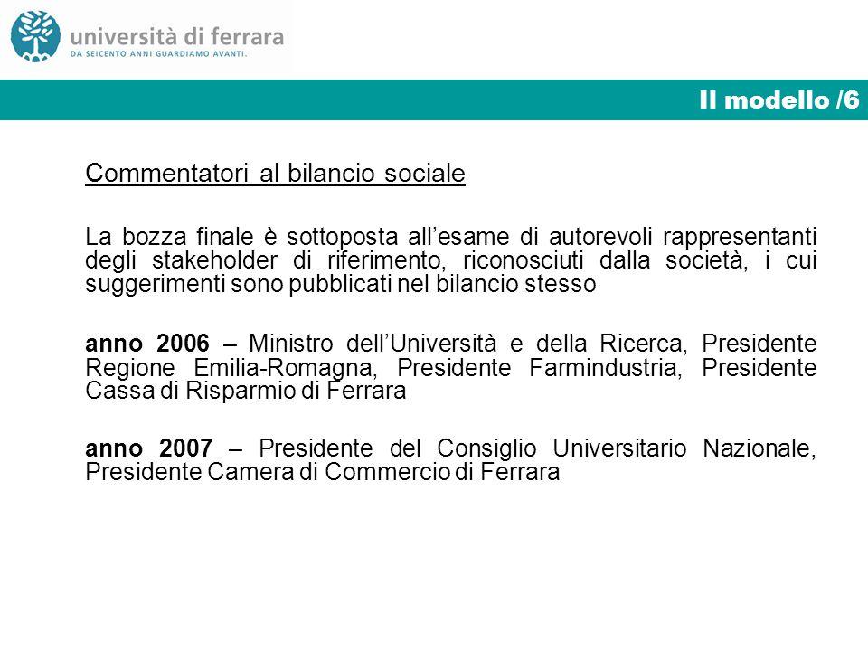 Il modello /6 Commentatori al bilancio sociale La bozza finale è sottoposta allesame di autorevoli rappresentanti degli stakeholder di riferimento, ri