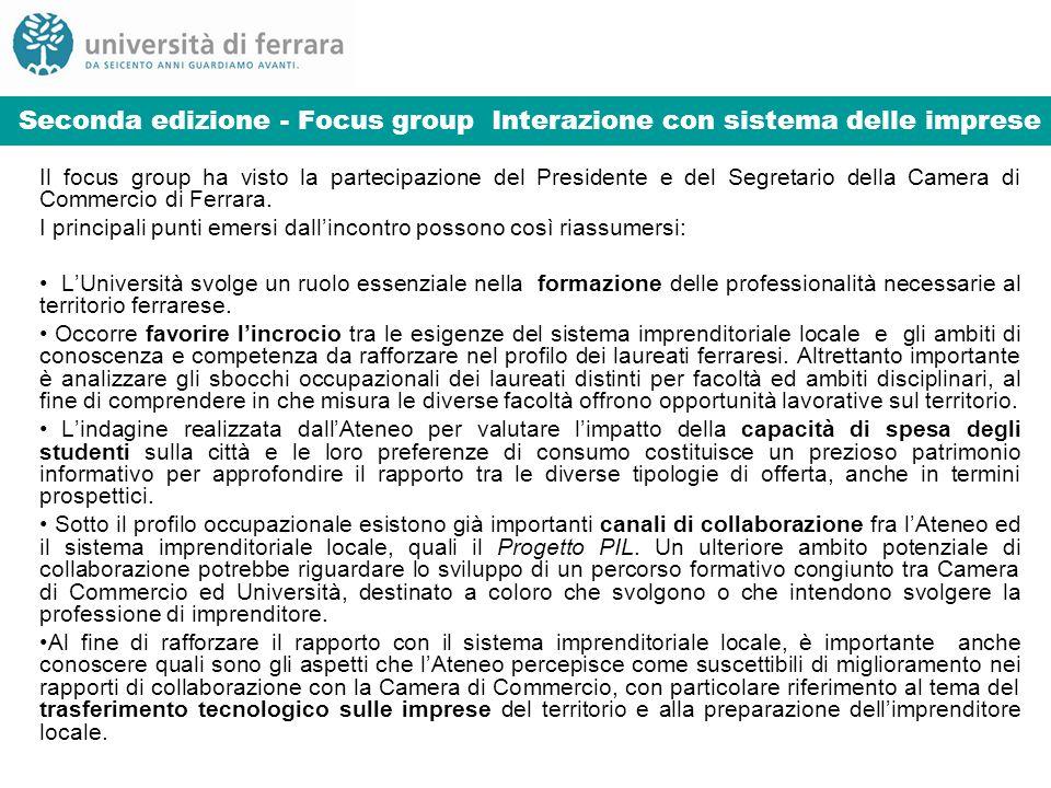 Seconda edizione - Focus group Interazione con sistema delle imprese Il focus group ha visto la partecipazione del Presidente e del Segretario della Camera di Commercio di Ferrara.